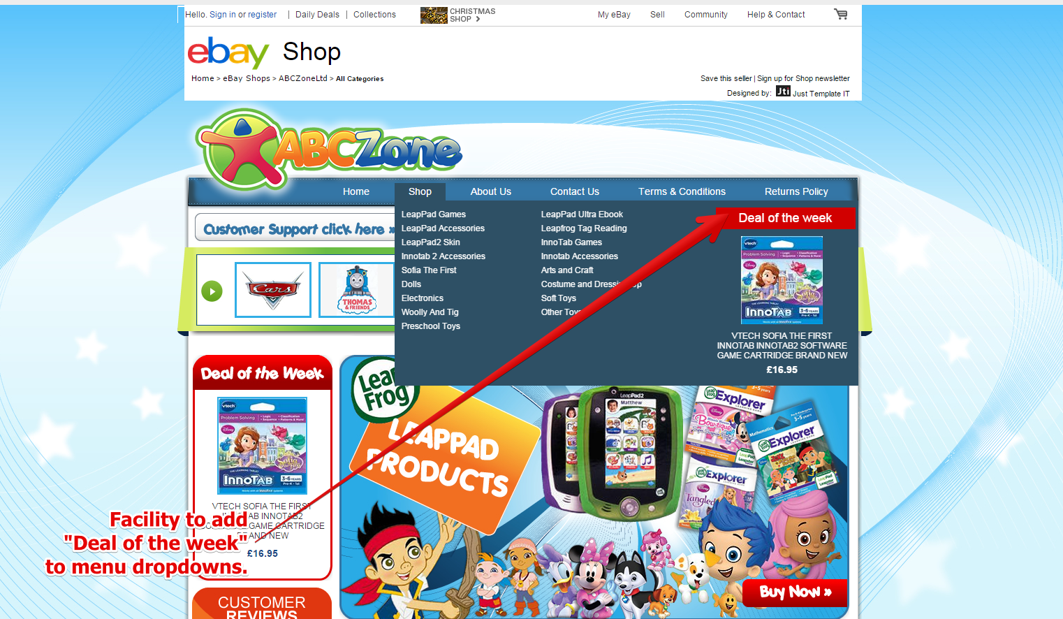Add 'Deals of the week' per menu category emulating functionality seen on web carts.